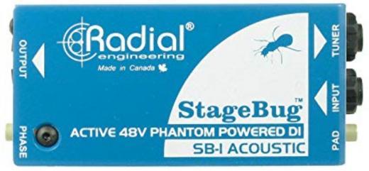 Caja directa activa, alimentación phantom de 48 V, con impedancia de entrada de 800 k-ohms, interruptor de polaridad y pad de 15dB