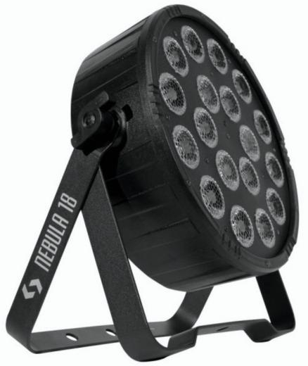 Bañador profesional, 18 LEDs RGBAW+UV de 12W, ángulo de haz de 25º, tecnología LED de seis colores permite una mezcla suave sin sombras multicolor