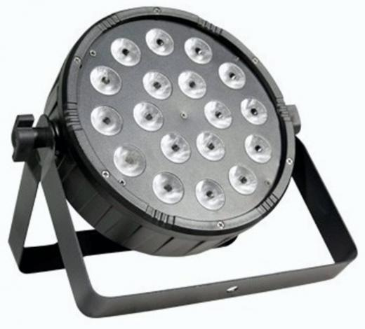 Par LED DMX para interior, 18 LEDs 3-en-1 RGB de 1W, ángulo de haz de 25º y un dimmer electrónico de 0-100%
