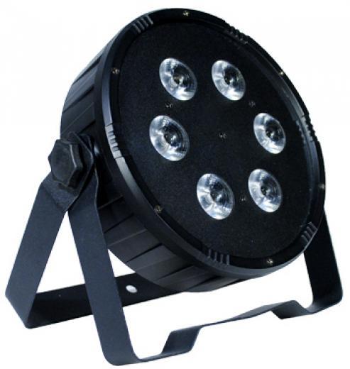 Par LED DMX para interior, 6 LEDs 6-en-1 de 12W, modo UV que permite una mezcla RGBWA + UV, ángulo de haz de 25º