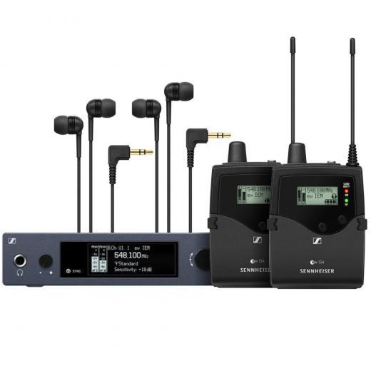 Solución inalámbrica de monitoreo in-ear con transmisor SR IEM G4 para montaje en bastidor, 2 receptores de cuerpo EK IEM G4 y 2 auriculares IE4 - Banda B (626-668 MHz)