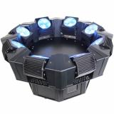 Fuente de luz: 8x10W RGBW Leds, Temperatura de color: 8200K, Ángulo beam: 5°, Pantalla de control Led, Dimmer regulable, strobo de 100 flashes por segundo