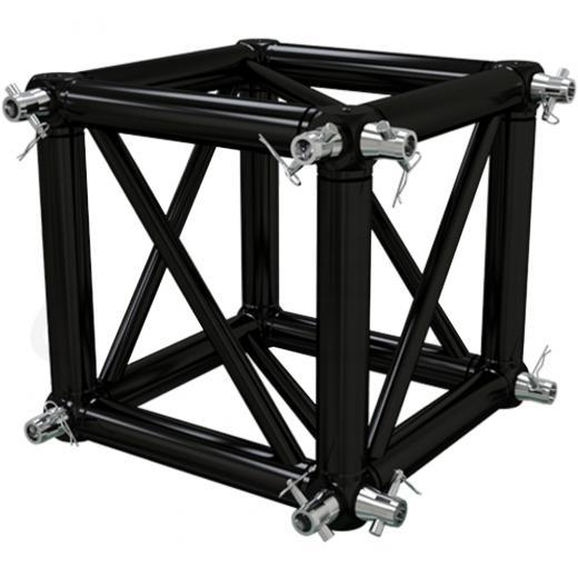 Corner Truss, Tipo Box 400x400 mm, para truss cuadrados 400x400 mm, negro matte, conectores incluidos, construccion aluminio 6061-T6