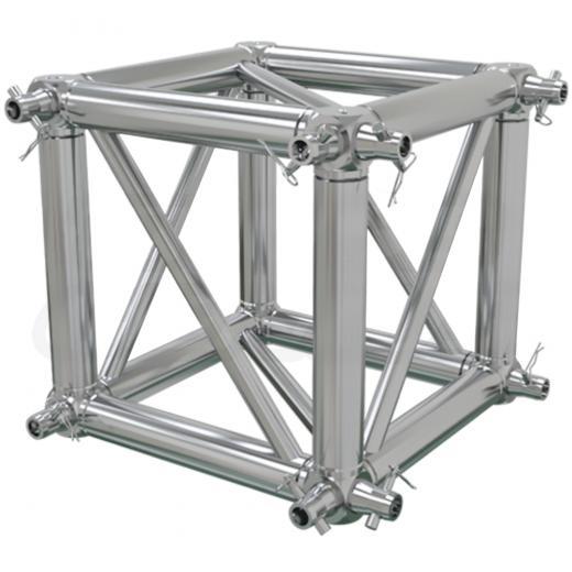 Corner Truss, Tipo Box 400x400 mm, para truss cuadrados 400x400 mm, cromado matte, conectores incluidos, construccion aluminio 6061-T6