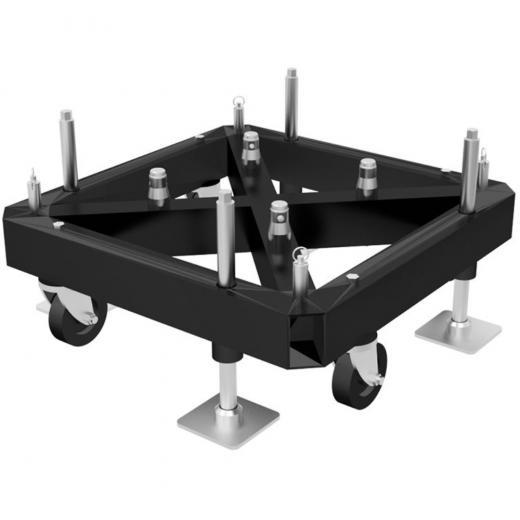Base Truss cuadrada 800x800 mm, para truss cuadrados 290x290 y 400x400 mm, negro matte, construccion aluminio 6061-T6