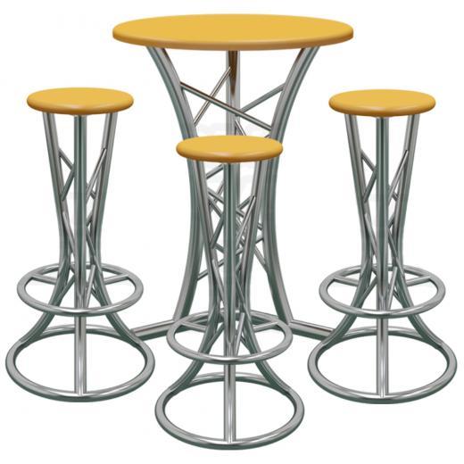 Sistema Truss de 1 mesa, patas curvas y 3 taburetes, cromado matte, construccion aluminio 6061-T6