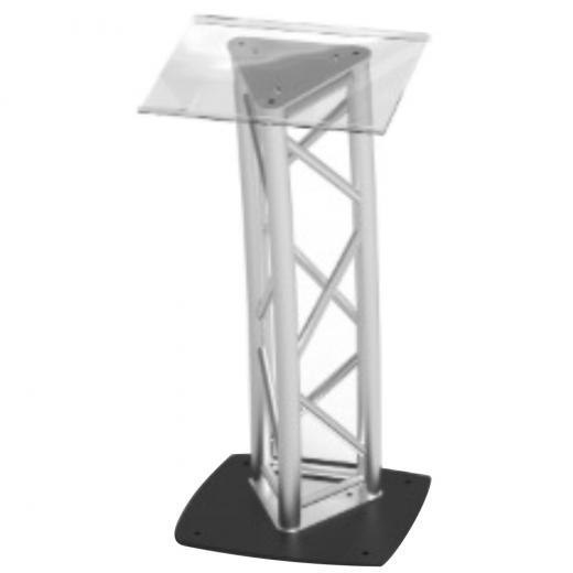 Soporte Truss conferencia, truss triangular, base cuadrada, soporte superior acrilico, construccion aluminio 6061-T6