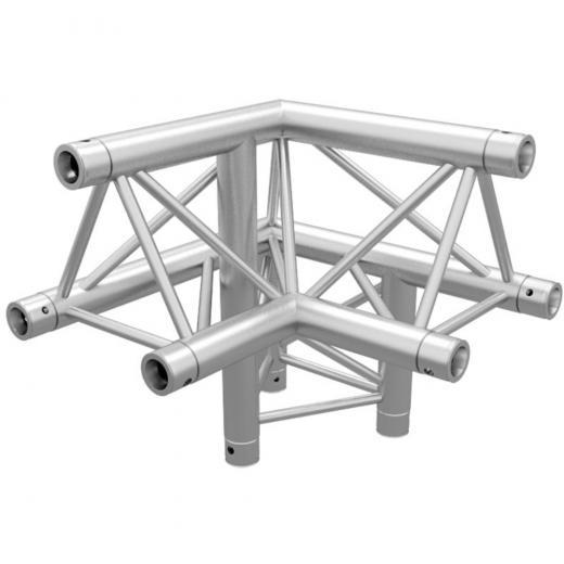 Corner Truss Tringular, 90 grados, 3 vias, lado derecho, 290x500 mm, 2 mm de grosor heavy duty, cromado, construccion aluminio 6061-T6