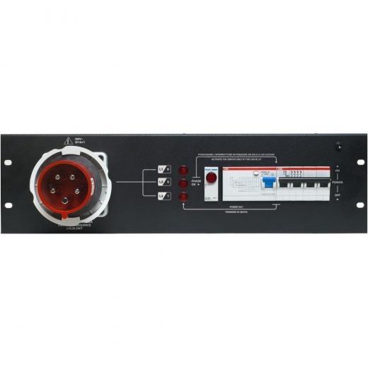 """3U de rack 19"""", módulo con 1 enchufe CEE 32A 3P + N + G, IP67 - 400V, sistema de protección de conexión de tres fases."""