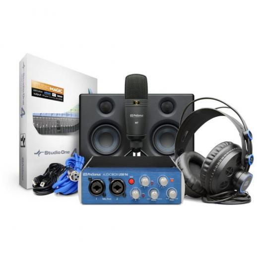 Kit de grabación con interfaz de audio AudioBox USB 96, software Studio One Artist DAW, monitores de estudio Eris 3.5, micrófono de condensador de diafragma grande M7, audifonos HD7 y Studio Magic Plug-in Suite