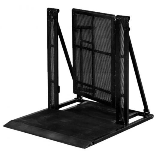 Barrera Truss con puerta acceso, 1200x1000x1200 mm, pivotes de anclaje, diagonales reforzados, construccion aluminio 6061-T6