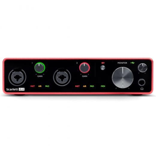 Interfaz de audio USB 2.0, 4 entradas / 4 salidas, 24 bits / 192 kHz, con 2 entradas de micrófono / instrumento, modo de aire conmutable, 2 entradas de línea, 4 salidas de línea, E / S MIDI, alimentación de bus USB y software incluido - Mac / Win
