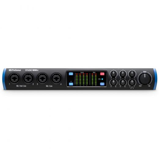 Interfaz de audio USB-C de 18 entradas / 8 salidas con 4 preamplificadores XMAX, E / S ADAT, E / S S / PDIF, E / S MIDI, Mezclador de monitor DSP y Software incluido