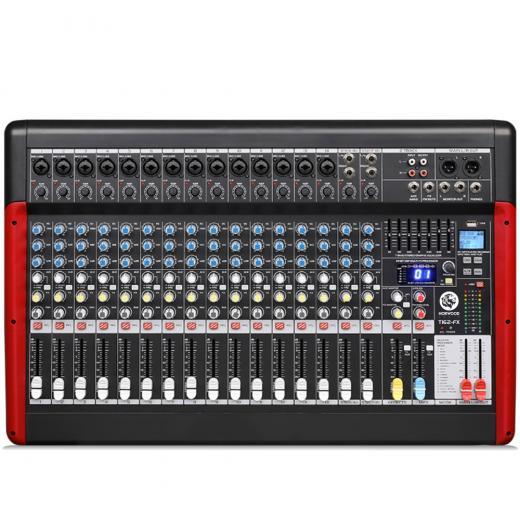 8 mono + 2 estéreo / 10 mono + 2 estéreo / 14 mono + 2 canales estéreo, Mezcla principal LR / 2 envíos AUX, faders de 60 mm protegidos contra el polvo
