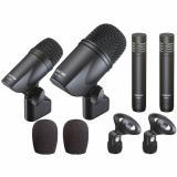 Kit de 4 micrófonos dinámicos cardiode, diseñados para pistas acústicas de batería con sonido equilibrado y moderno