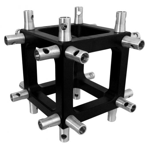 Corner Truss, Tipo Box 100x100 mm, para truss cuadrados 100x100 mm, negro matte, conectores incluidos, construccion aluminio 6061-T6