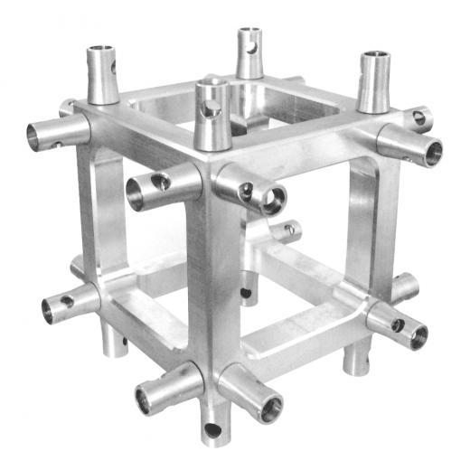 Corner Truss, Tipo Box 100x100 mm, para truss cuadrados 100x100 mm, cromado matte, conectores incluidos, construccion aluminio 6061-T6