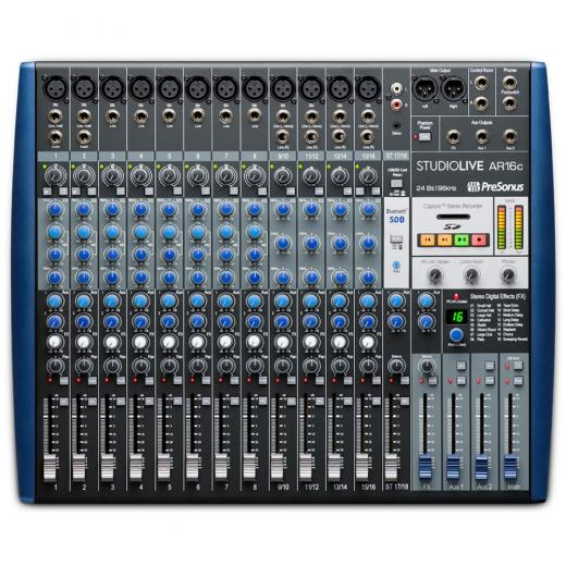Mezclador analógico de 16 canales con grabador de 24 bits / 96kHz de 18 pistas, ecualizador de 3 bandas, efectos incorporados e interfaz de audio USB de 18 entradas / 4 salidas