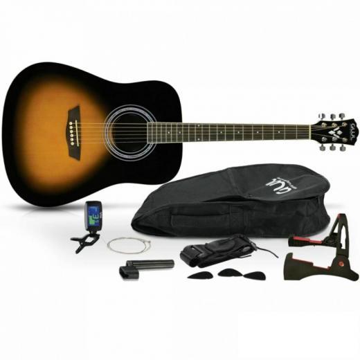 Pack Guitarra acústica de tamaño estándar, un afinador electrónico con pantalla LED, un set extra de cuerdas, uñetas, etc.