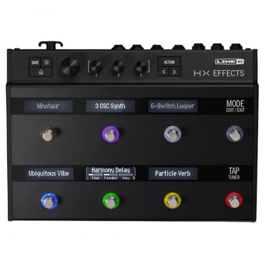Unidad multiefectos con 8 interruptores de pedal de detección capacitiva, pantallas de informacion, efectos de calidad HX, E / S MIDI, USB, 2 loops de efectos, conectividad de pedal de expresión y True Stereo Thruput