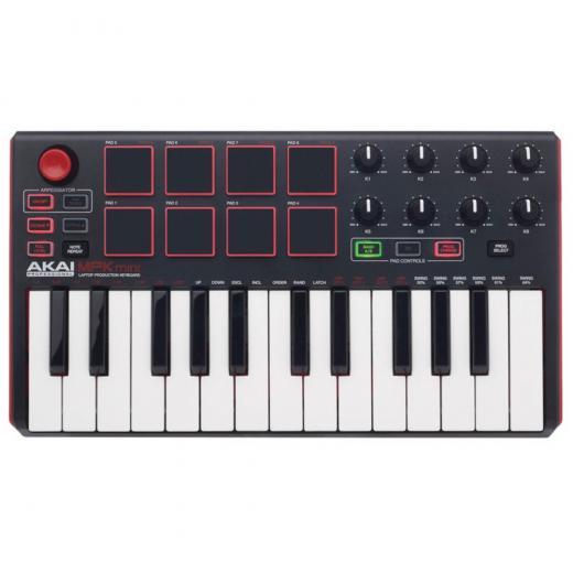 Controlador MIDI de 25 teclas con mini teclas de acción de sintetizador, joystick de 4 vías, 8 almohadillas estilo MPC y 8 perillas de control