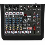 Mezclador analógico de 10 canales con 4 canales de micrófono / línea, 2 entradas hi-Z conmutables, 2 canales estéreo, ecualizador de 3 bandas, efectos integrados y 4 x 4 interfaz de audio USB