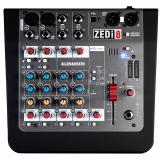 Mezclador analógico de 8 canales con 2 canales de micrófono / línea / instrumento, 2 canales estéreo, ecualizador de 2 bandas y 2 x 2 interfaz de audio USB