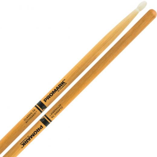 Baquetas Hickory (par) con puntas de madera y acabado transparente activado por calor ( activegrip ) - Longitud: 40.6 cms; Diámetro: 1.3 cms