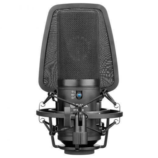 "Micrófono de condensador de diafragma 34mm(1.3""), robusta carcasa totalmente metálica, tres patrones polares seleccionables, con interruptor de ganancia de -10dB"