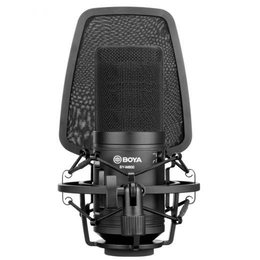 Micrófono de condensador de diafragma cardioide de gran tamaño, sonido suave y plano, respuesta de frecuencia de amplio rango, es perfecto para la captura de voces e instrumentos.