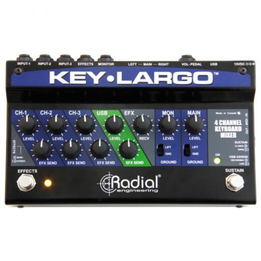 Mezclador de teclado estéreo de 3 canales con interfaz USB 2x2, envío / recepción de efectos y funcionalidad de pedal