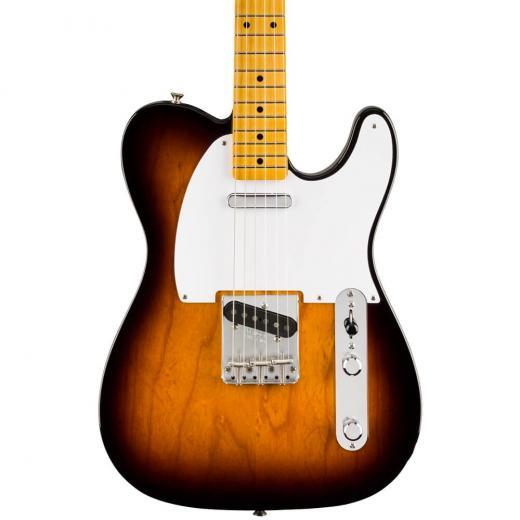 Guitarra eléctrica de cuerpo sólido con cuerpo de aliso, mástil de arce, diapasón de arce y 2 capsulas de bobina simple, color Sunburst de 2 colores