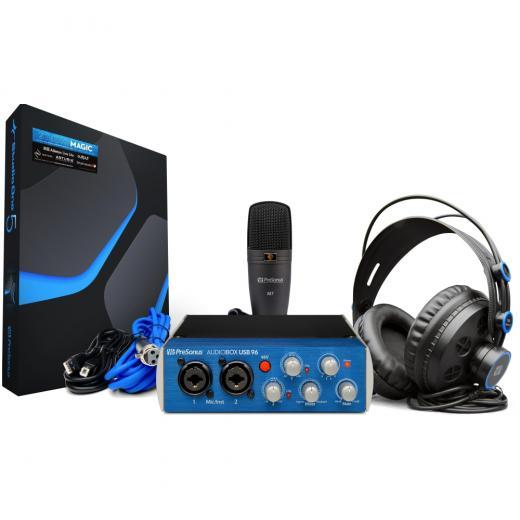 Interfaz de audio USB 2.0, 2 entradas / 4 salidas de 24 bits / 96 kHz, software DAW Studio One Artist, complementos Studio Magic, micrófono de condensador y audifonos