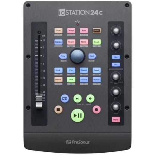 Interfaz USB-C, 2 entradas / 2 salidas con 2 preamplificadores XMAX, atenuador motorizado de 100 mm, control de transporte con solo, silenciado y brazo de grabación, DAW de Studio One Artist y complementos Studio Magic