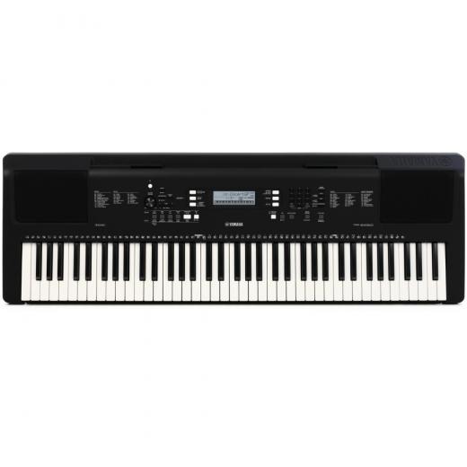 """Arreglador portátil de 76 teclas con 622 voces, USB para alojar audio y MIDI, entrada AUX de 1/8"""" y Yamaha Education Suite"""