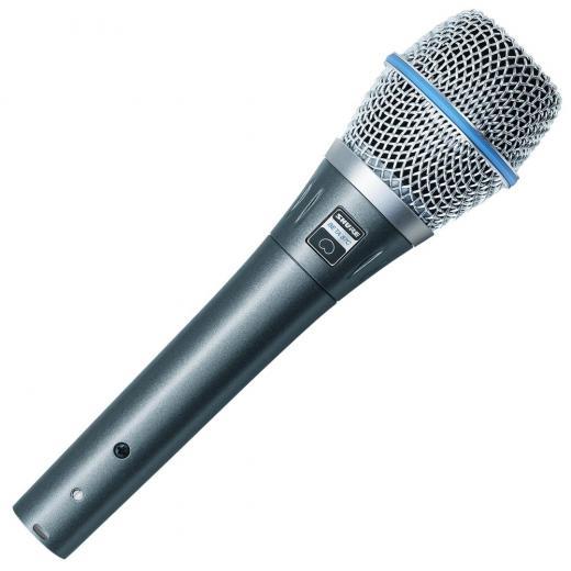 Micrófono condensador cardioide de mano con filtro pop de 3 etapas, adaptador de soporte, clip de micrófono y bolsa de transporte