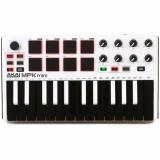 Controlador MIDI de 25 teclas con mini teclas de acción de sintetizador, joystick de 4 vías, 8 pads estilo MPC y 8 perillas de control