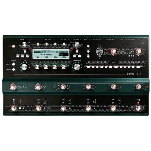 Procesador de modelado de amplificador de guitarra / bajo con loop de efectos estéreo y control remoto integrado de 14 interruptores