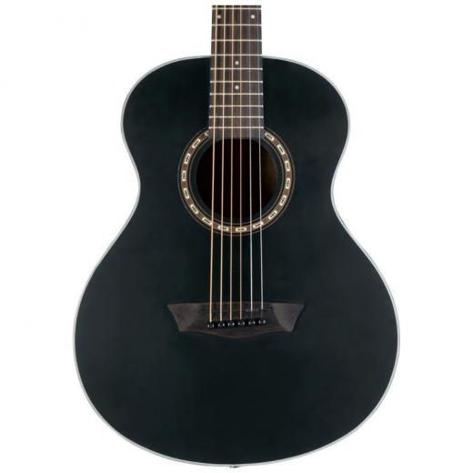 Guitarra acústica de 6 cuerdas, con fondo / aros de caoba, tapa de abeto y mástil de caoba, color negro mate