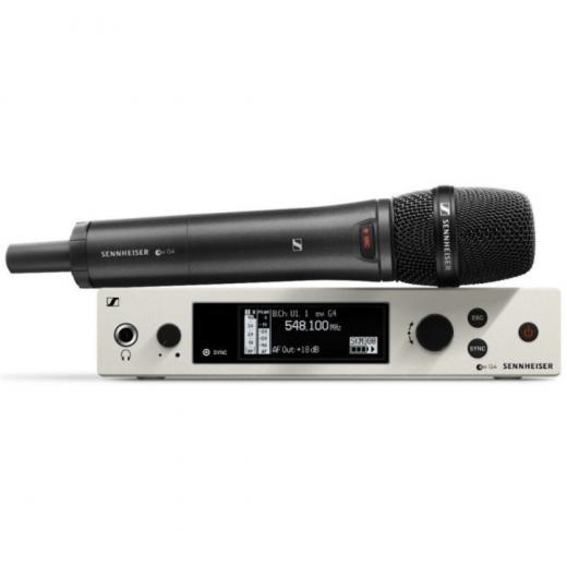 Sistema inalámbrico serie Evolution G4 100 con micrófono de mano SKM 100 G4-845-S con transmisor y receptor montable en rack EM 100 G4- Banda A (516-558 MHz)