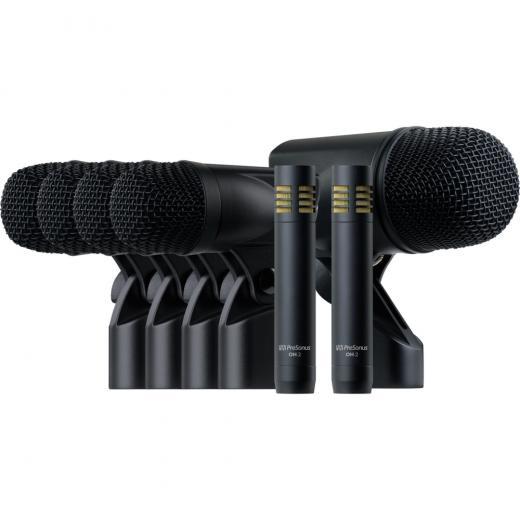 7 micrófonos para batería e instrumentos, 1 x micrófono de bombo BD-1, 4 micrófonos ST-4 para toms y caja, 2 micrófonos de condensador de diafragma pequeño OH-2
