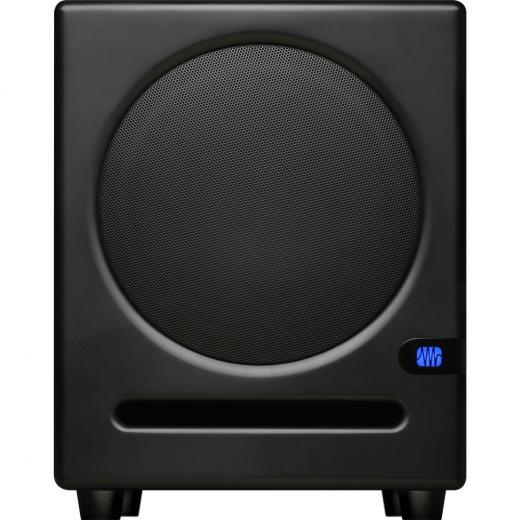 """Woofer compuesto de 8"""", encendido frontal , Respuesta de frecuencia de 30 a 200 Hz, 113 dB peak SPL máximo, 100 W de amplificación de clase AB"""