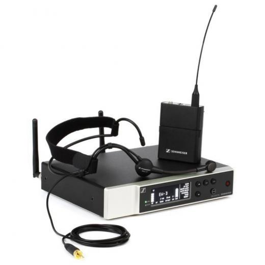 Sistema de micrófono con auricular inalámbrico digital con micrófono cardioide, transmisor de bolsillo, receptor, kit de rack y accesorios, Banda R1-6 (520-576MHz)