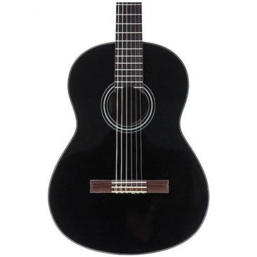 Guitarra acústica de cuerdas de nylon con tapa de abeto, aros y fondo de Meranti, mástil Nato y diapasón y puente de palisandro, color Negro