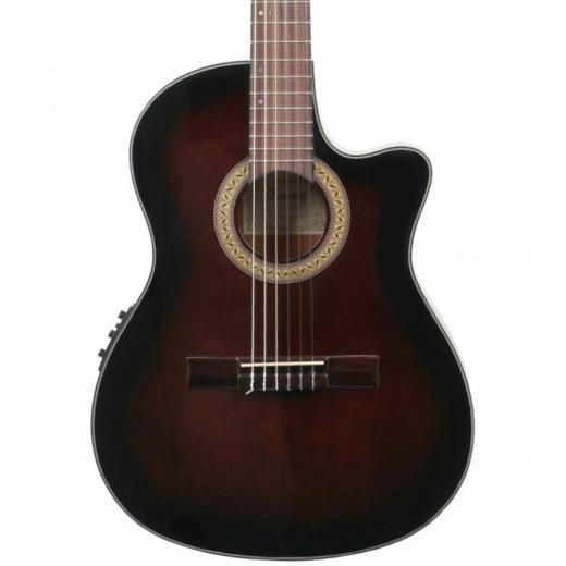 Guitarra clásica con cutaway electroacustica de la serie Classical con tapa de abeto y aros y fondo de caoba. Color Dark violin sunburst.
