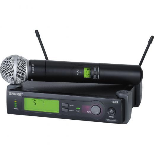 Sistema de mano inalámbrico de la serie SLX con micrófono vocal dinámico cardioide SLX2 / SM58 con transmisor y receptor SLX4 - Banda J3 (572-596MHz)