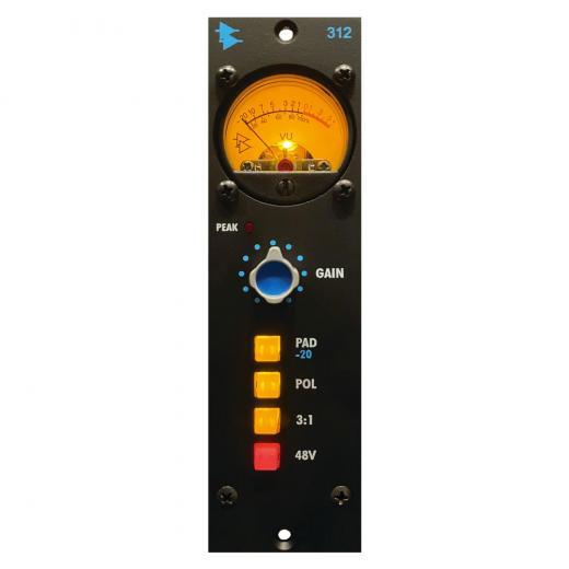 Preamplificador de micrófono, 1 canal, serie 500, circuito totalmente discreto con amplificador operacional 2520, transformador de entrada AP2516, selección de toma de transformador de salida 3: 1, medidor de VU analógico e indicador LED de peak