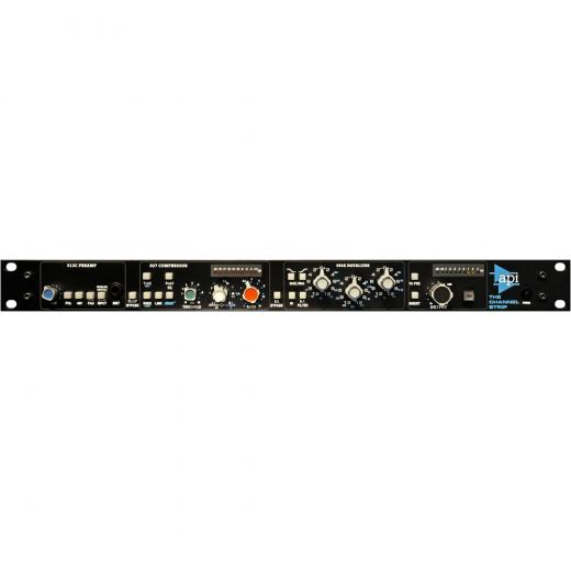 Channel Strip con módulos de preamplificador, compresor, ecualizador y controlador de línea, además de punto de inserción y entrada de cadena lateral