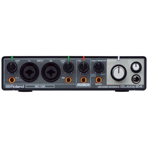 Interfaz de audio / MIDI USB de 2 entradas / 4 salidas compatible con su clase con 2 preamplificadores de micrófono, compresor / limitadores integrados, Ground Lift y grabación en loop invertido (Mac / PC)