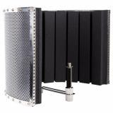 Estructura simple y la fácil aplicación, soporte de micrófono mediante una abrazadera, marco de metal y panel de madera y aluminio